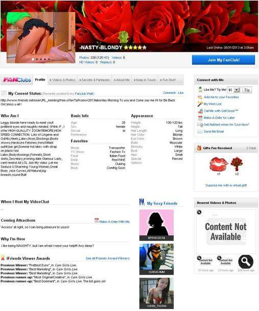 Screenshot of iFriends Model Biography Page