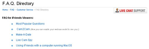 Screenshot of iFriends FAQ Page