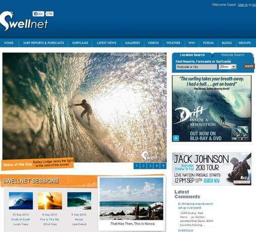 Screenshot of Swellnet.com.au Homepage